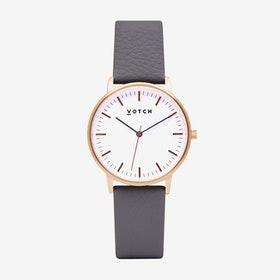 Intense Classic Watch in Rose Gold with White Face and Slate Grey Vegan Leather Strap, 36mm - Votch