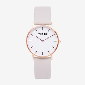 Classic Watch in Rose Gold with White Face and Light Grey Vegan Leather Strap, 38mm - Votch