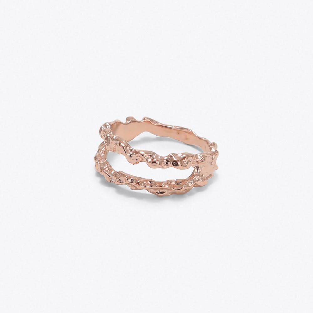 Double Meteor Ring in Rose Gold - Matthew Calvin