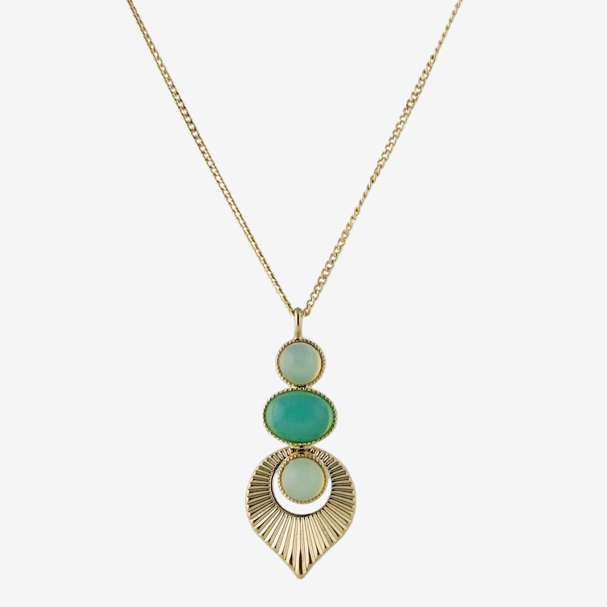 Gold Art Deco Style Pendant Necklace in Mint and Yellow - Aliquo