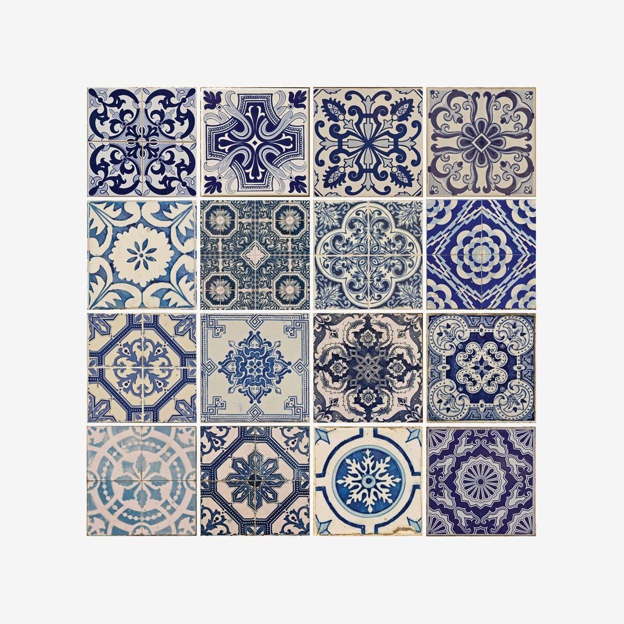 Spanish Blue Tile Pattern Self-adhesive Decal - Walplus