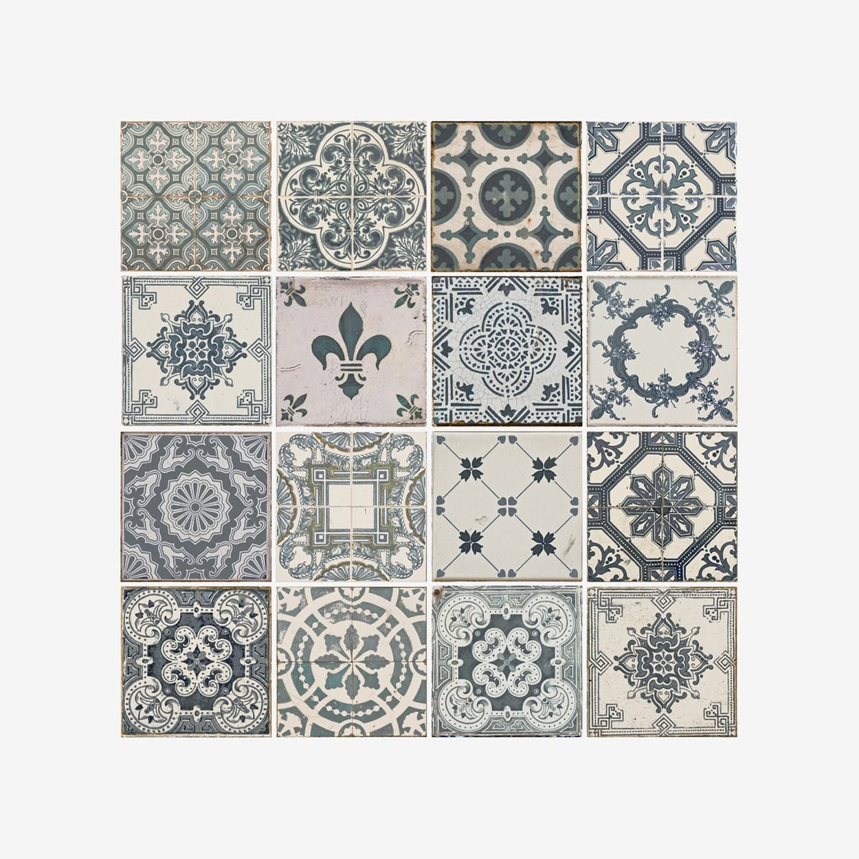 Vintage Blue Tile Pattern Self-adhesive Decal - Walplus