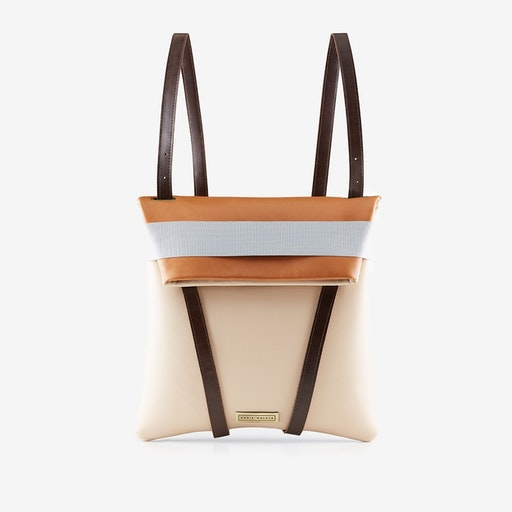 Backpack Sand in Caramel Brown and Pink Blush Leather - Maria Maleta