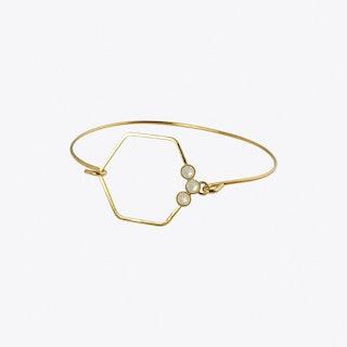 Delicate Gold Hexagon Bracelet with White Opal - Aliquo