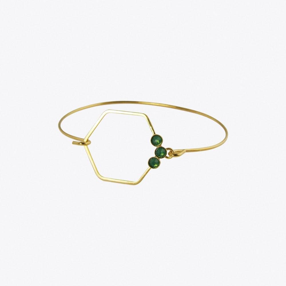 Delicate Gold Hexagon Bracelet in Green Opal - Aliquo
