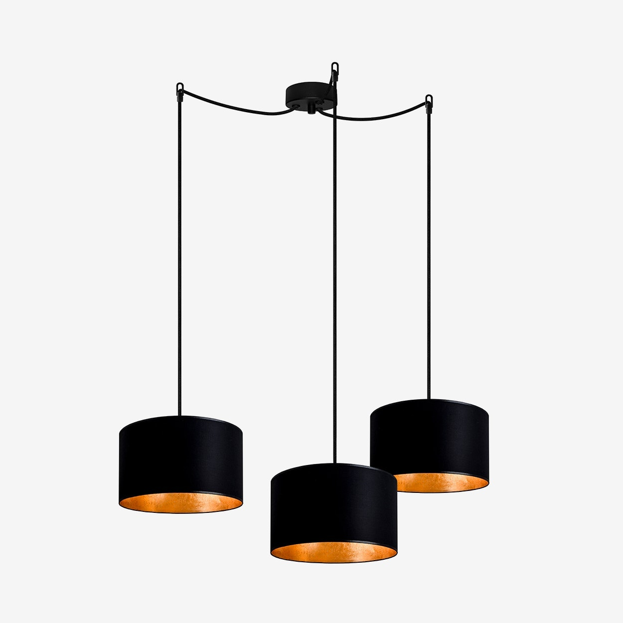 Mika Small Triple Pendant Light In Black With Gold Leaf Sotto Luce