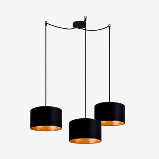 MIKA Small Triple Pendant Light in Black with Gold LEaf - Sotto Luce