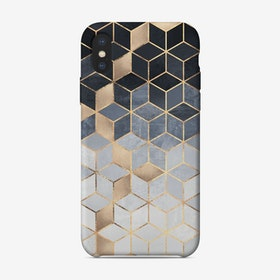 Soft Blue Gradient Cubes iPhone Case - Elisabeth Fredriksson