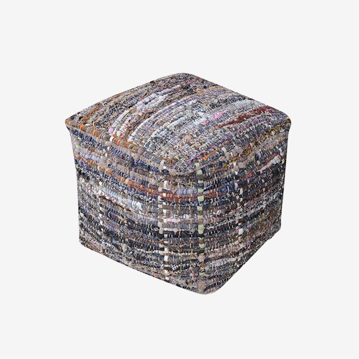 HARRIS Pouf in Grey/Blue - The Rug Republic