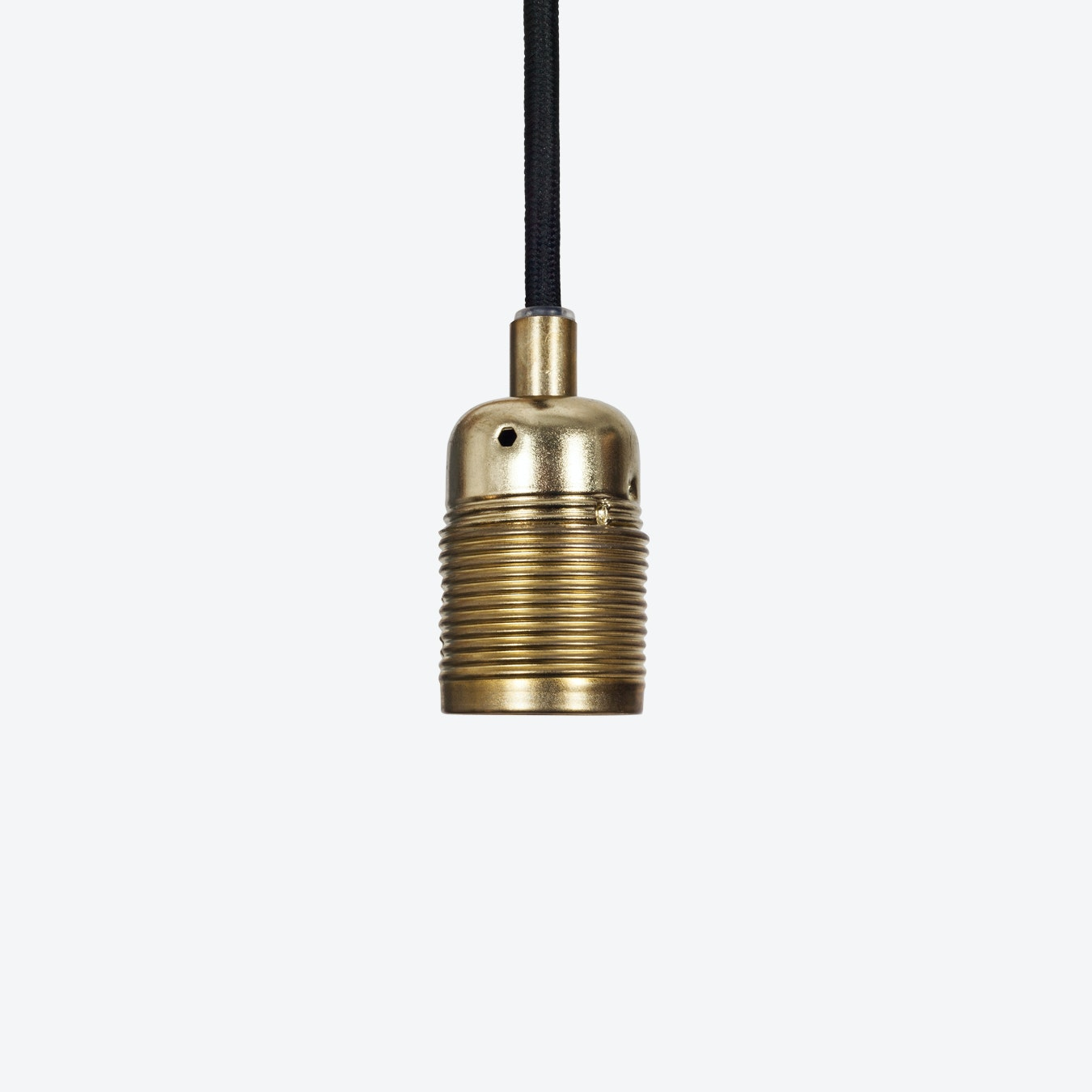E27 Brass Pendant Lamp W Black Cable