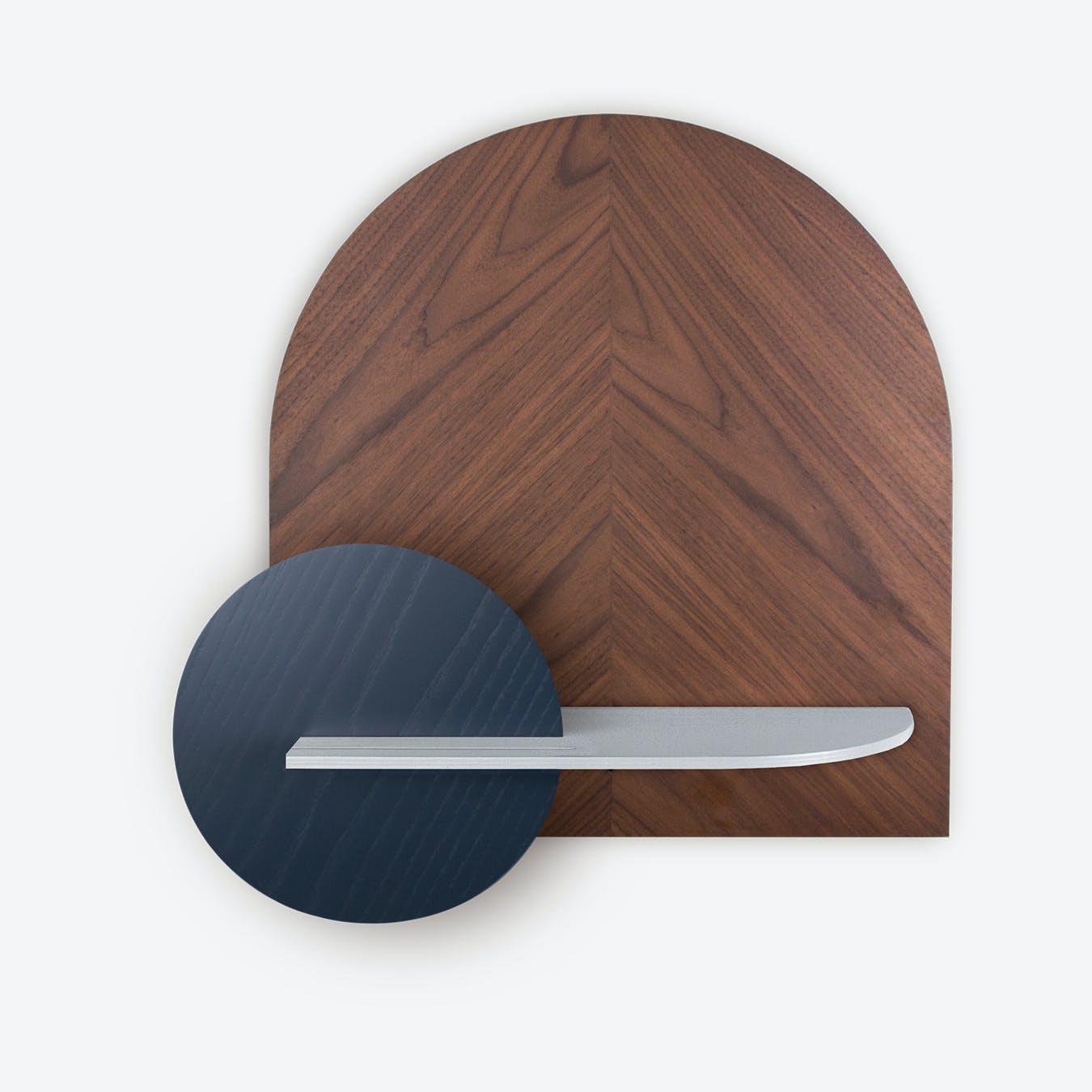 Alba M Herringbone Wall Shelf - Walnut/Grey/Blue