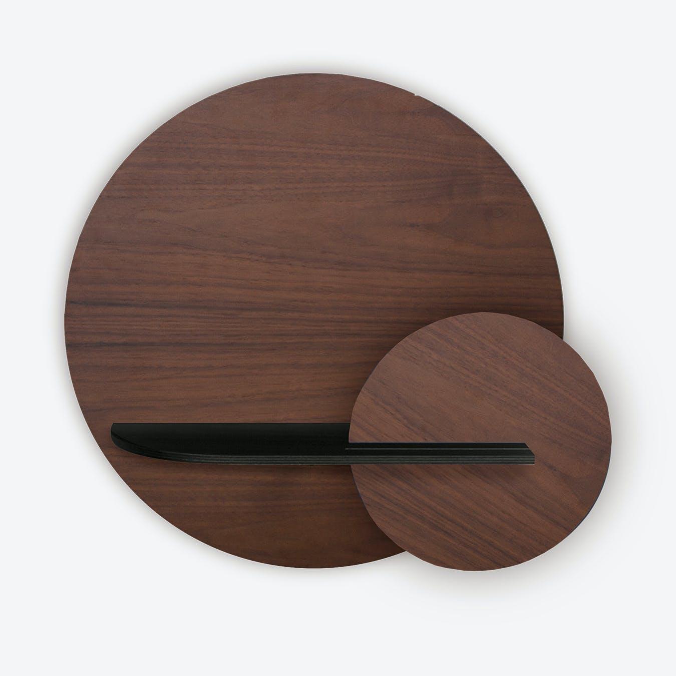 Alba M Circle Wall Shelf - Walnut/Black/Walnut
