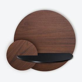Alba L Round Wall Shelf - Walnut/Black/Walnut