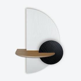 Alba L Semi Circle Wall Shelf - White/Oak/Black