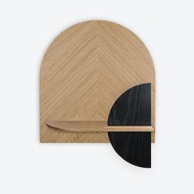 Alba M Herringbone Wall Shelf - Oak/Oak/Black