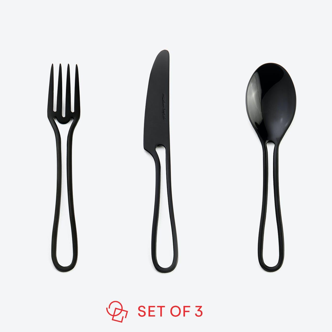 Black 'Outline' Kids Cutlery (set of 3)