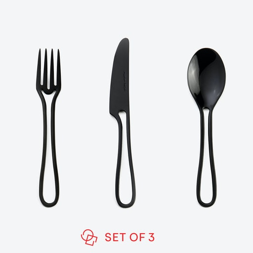 Black 'Outline' Kids Cutlery (set of 3)