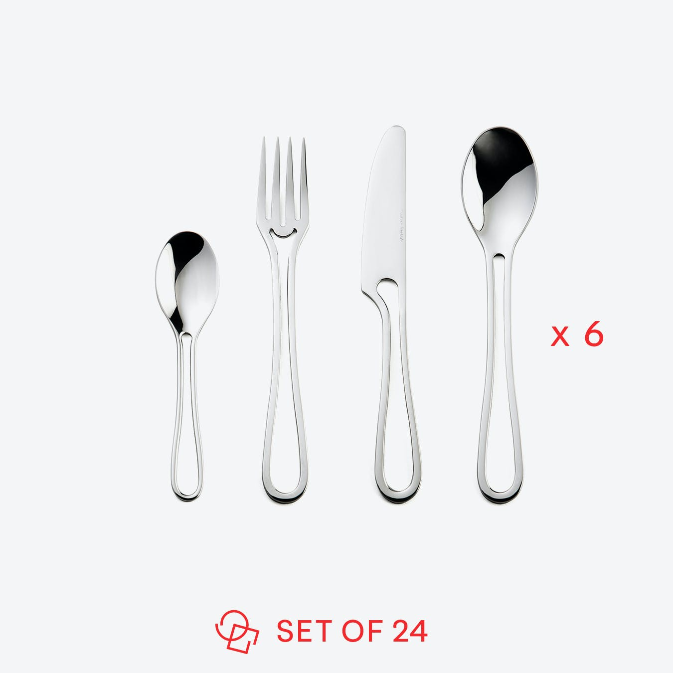 Glossy 'Outline' Table Cutlery (set of 24)