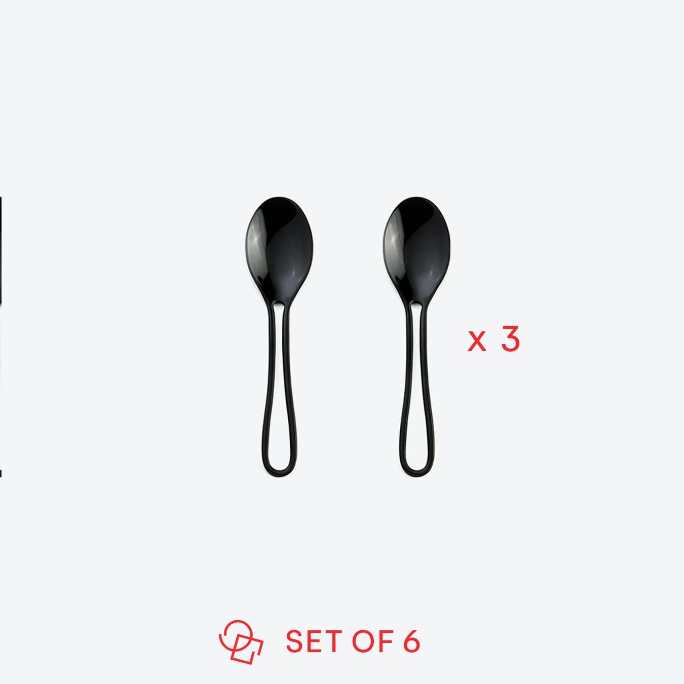 Black 'Outline' Espresso Spoons (set of 6)