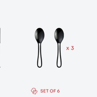 Black 'Outline' Espresso Spoons (set of 6)