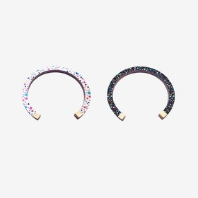 Lunar Bangle - White / Black Tutti Frutti