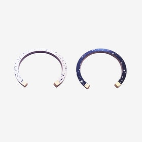 Lunar Bangle - Black / White Lunar Storm