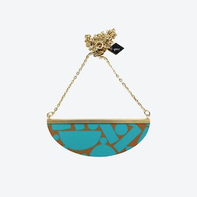 Lunar Necklace - Teal Brown Puzzle