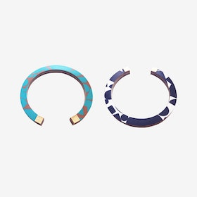 Lunar Bangle - Black & White / Teal & Brown Puzzle