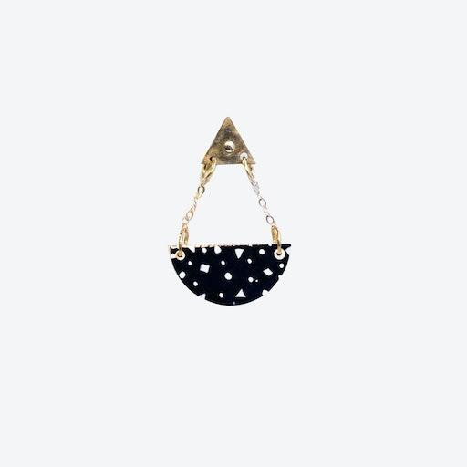 Half Moon Earring - Black Speckle