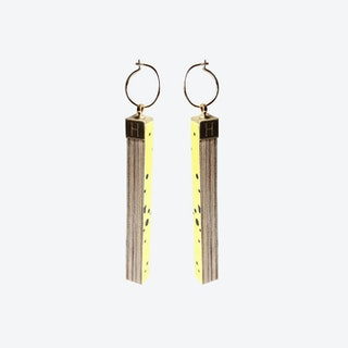 Pattern Rectangle Earrings - Yellow Lunar Storm