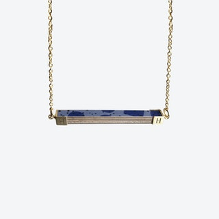 Pattern Rectangle Necklace - Grey Blue Confetti