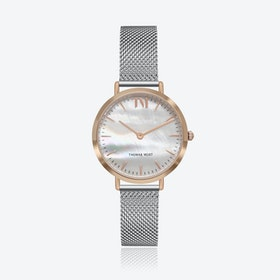 Rose Gold Watch w/ Seashell Face & Silver Mesh Strap