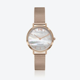 Rose Gold Watch w/ Seashell Face & Rose Gold Mesh Strap