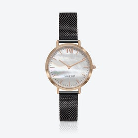 Rose Gold Watch w/ Seashell Face & Black Mesh Strap