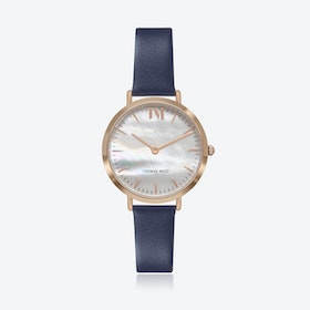 Rose Gold Watch w/ Seashell Face & Blue Leather Strap
