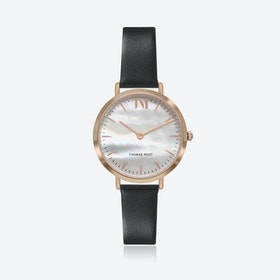Rose Gold Watch w/ Seashell Face & Black Leather Strap