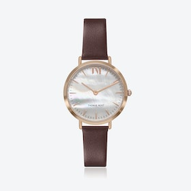 Rose Gold Watch w/ Seashell Face & Brown Leather Strap