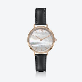 Rose Gold Watch w/ Seashell Face & Black Stitch Leather Strap