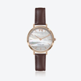 Rose Gold Watch w/ Seashell Face & Brown Stitch Leather Strap