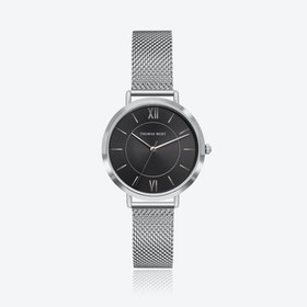 Silver Watch w/ Black Sunray Face & Silver Mesh Strap