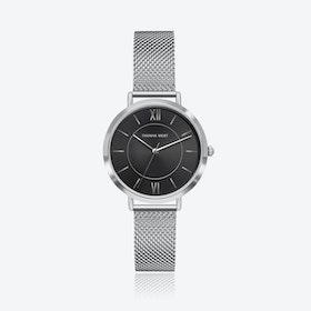 Silver Watch w/ Black Sunray Face & Silver Mesh Strap
