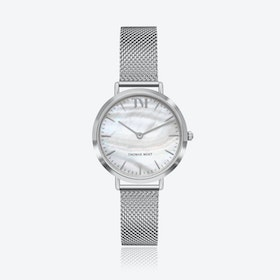 Silver Watch w/ Seashell Face & Silver Mesh Strap