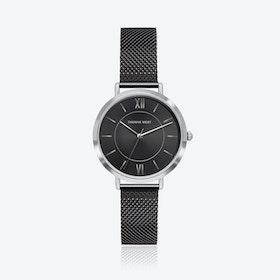 Silver Watch w/ Black Sunray Face & Black Mesh Strap