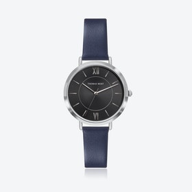 Silver Watch w/ Black Sunray Face & Blue Leather Strap