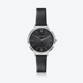Silver Watch w/ Black Sunray Face & Black Leather Strap