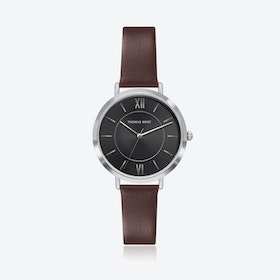 Silver Watch w/ Black Sunray Face & Brown Leather Strap