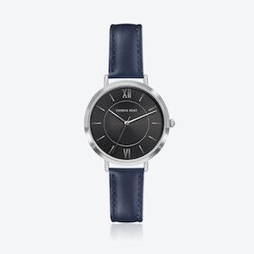 Silver Watch w/ Black Sunray Face & Blue Stitch Leather Strap