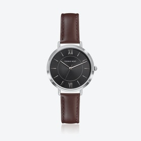 Silver Watch w/ Black Sunray Face & Brown Stitch Leather Strap