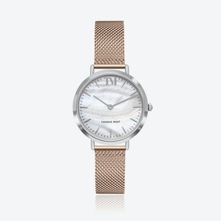 Silver Watch w/ Seashell Face & Rose Gold Mesh Strap