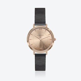 Rose Gold Watch w/ Coffee Sunray Face & Black Mesh Strap